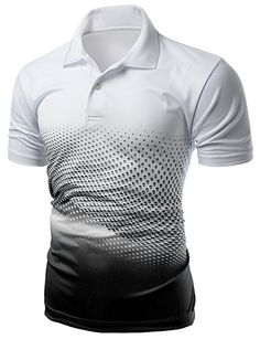 Men's Cool Max Fabric Sporty Design Printed Polo Tops BLACK XL * You can get additional details at the image link. Custom T Shirt Printing, Printed Shirts, Collar Designs, Shirt Designs, Polo T Shirts, Sport T Shirt, Sport Outfits, Print Design, Sporty