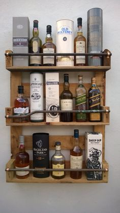 Whisky Rack Shelf Upcycled Pallet \/ Crate Handmade Vintage Shabby Chic Kitchen in Home Furniture & DIY Cookware Dining & Bar Bar & Wine Accessories Bar Pallet, Pallet Crates, Pallet Shelves, Wood Pallets, Pallet Wine, Bar Shelves, Glass Shelves, Liquor Shelves, Man Cave Pallet Ideas