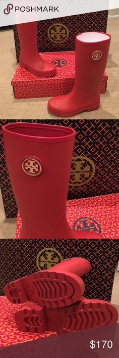"""NEW gorgeous Tory Burch Sarah Logo Rainboot Brand new- Tory Burch Sarah Logo Rainboot in Signature Tory Red! Rubber Vegan Leather with textile lining. Gold logo detail. Non slip soles. Size 8 but I usually wear an 8.5. The 7 was too small to wear socks or liners with. The size 8 fit best. Perfect for spring rain showers! 15-1/2"""" shaft circumference. 13"""" high shaft of boot running up the leg. Grab these quick! Tory Burch Shoes Winter & Rain Boots"""