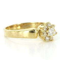 Vintage 14 Karat Yellow Gold Diamond Flower Cocktail Ring Fine Estate Jewelry