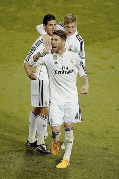 Sergio, Toni and James celebrate Real Madrid match win against Atletico de Madrid in the UEFA Champions League. 22.04.15