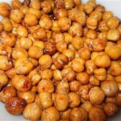 Crunchy, Spicy Chickpeas. Low carb, low fat, sweet & salty snack.