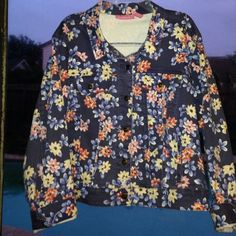 "Floral Spring Jacket Plus Size This jacket is lovely and like new. It is to short waisted for me and a little to big. It measures 28"" underarm to underarm and is 23"" long. The Woman Within Jackets & Coats Jean Jackets"