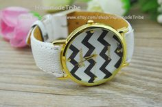 White Leather Charm Watch Unisex Watches Fashion by HandmadeTribe, $5.99 Stylish leather cuff bracelet