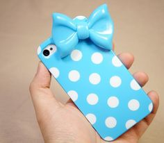 cute wave point, blue bow iphone 4 case iphone 4s case iphone 5 case iphone 5 cover, silica gel case. $9.90, via Etsy.