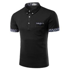 Turn-Down Collar Flower Print Edging Short Sleeve Button-Down Polo T-Shirt For Men