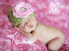 Green & Pink Floral Knit Hat The Couture Baby Crochet Preemie Hats, Knitted Hats, Knit Crochet, Baby Couture, Baby Steps, Beautiful Children, Baby Hats, Pink Flowers, Crocheting