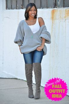 Gray Sweater, Grey Sweater, OTK Boots, Fall Outfit Idea, Sweaters