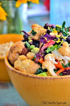 Roasted Cauliflower and Black Bean Buddha Bowl with Basil Lemon Dressing {Gluten-Free, Dairy-Free, Soy-Free, Vegan}