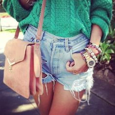 high waisted shorts and a sweater
