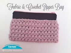 This zipper pouch combines a sewn fabric bag and a crocheted piece to make a unique bag. The finished bag measures about 5 1/2″ x 9″. The crocheted portion is made using a puff stitch, The fabric portion lines the crocheted portion. A band of fabric across the top is lined with interfacing to give a little more support to the part that is not covered by crochet. The two parts, fabric and crochet, are made separately and then sewn together.