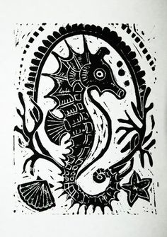 Seahorse Emblem Linocut Print by kirayustak on Etsy Abstract Coloring Pages, Flower Coloring Pages, Mandala Coloring, Seahorse Art, Seahorses, Linoleum Block Printing, Stamp Carving, Printing Ink, Nautical Art