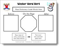 Winter Word Sort Dictionary Activity Freebie from Laura Candler