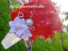 baby girl red curly feather  headband by Hollywoodtutu on Etsy, $12.50