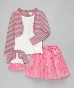 Another great find on #zulily! Pink & Gray Ruffle Skirt Set & Doll Outfit - Toddler & Girls #zulilyfinds