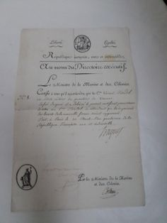 French Antique Captain Certificate signed by Navy Minister Laurent truguet (1752-1839)