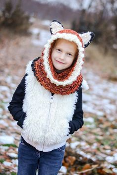 Childs Hooded Animal Cowl, Fox Hood, Cowl, Hood with Ears, Chunky Knit Super Warm Winter Hood,Crochet Hooded Cowl Neck, Toddler to Adult