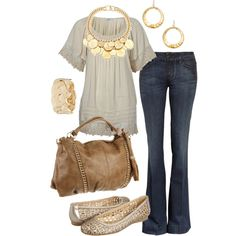 cream & gold, created by htotheb on Polyvore