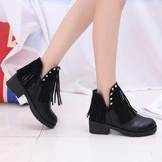 Rivet Tassel Ankel Square Heel V Mouth Slip On Boots - Gchoic.com #shoes #fashion #women #poplar #beautiful