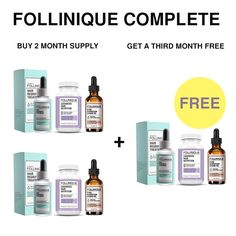 FOLLINIQUE Complete Month Supply - Buy 2 Get 1 Month FREE! Get ALL 3 -Hair ReGROWTH Treatment, 100% Pure Argan Oil and Advanced Hair Nutrition Vitamins and Minerals -FDA Approved 2% Minoxidil ** You can find more details by visiting the image link.