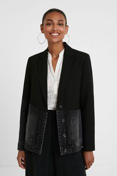 Hybrid-Jeans-Blazer | Desigual.com Blazer Jeans, Jean Desigual, Black Blazers, Underwear, V Neck, Couture, Long Sleeve, Sleeves, Lapels