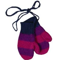 $28.00 striped mittens - violet/raspberry  hand loomed in peru!