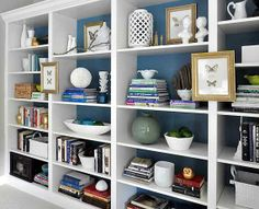 Living Room Bookcase Design Ideas Awesome the Billy Ikea Bookcases as Built In Paint Back Of Shelves Bookshelf Styling, Built In Bookcase, Bookshelf Decorating, Decorating Ideas, Wall Bookshelves, Bookshelf Ideas, Decor Ideas, Arranging Bookshelves, Bookshelf Organization