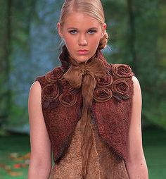 """Pattern of a seemless felted Jacket """"Bolero with Roses"""" with instructions Nuno, Felt Fabric, Girly Girl, Diy Clothes, Dress Patterns, Wool Felt, Fashion Art, High Neck Dress, How To Wear"""