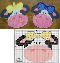 2 Crochet Patterns - Dog and paw Decor or potholders - Amigurumi Crochet Pattern - PDF file by Zabelina Crochet Potholder Patterns, Crochet Motifs, Crochet Dishcloths, Crochet Diagram, Crochet Cow, Crochet Amigurumi, Crochet Crafts, Crochet Projects, Plastic Canvas Crafts