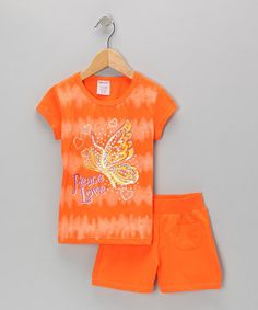 Take a look at this Orange 'Peace Love' Tee & Shorts - Toddler & Girls by S.W.A.K. on #zulily today!