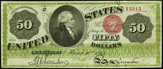 United States paper money - 1863 Fifty Dollar Legal Tender Note  Bust of Alexander Hamilton.