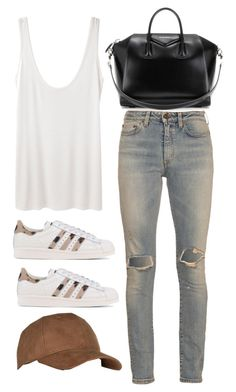 """""""Untitled #9561"""" by katgorostiza ❤ liked on Polyvore featuring The Row, Yves Saint Laurent, adidas Originals and Givenchy"""