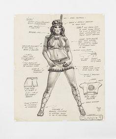 Original Lynda Carter 'Miss May' Playboy Bunny costume sketch for Apocalypse Now.