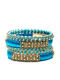 Set of 6 Turquoise Sea Bangle Bracelets by Rosena Sammi at Gilt