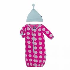Print Ruffle Layette Gown Converter & Knot Hat Set in Calypso Record Birds