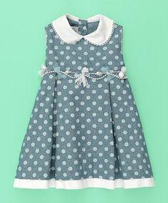 Vestido baby de poá azul e branco