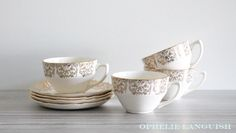 Stunning vintage set of four Georgian China tea cups and saucers in the Briar Rose pattern. Beautiful pink centre rose motif (on saucers) against a cream background. Very elegant and shabby chic. Briar Rose, China Tea Cups, Gold Filigree, China Patterns, Georgian, Cup And Saucer, Tea Party, Shabby Chic, Etsy Shop
