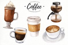 Coffee watercolor clipart by everysunsun on @creativemarket