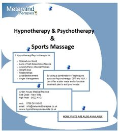 Are you feeling stressed? Low Self-esteem and lacking confidence? Feeling anxious and confused?  Have you just been through a difficult loss and are not sure about your confusing feelings?    I offer Hypnotherapy, Psychotherapy and Sports Massage in New Mills, Derbyshire.    Please contact me for further information.