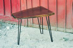 ITEM DESCRIPTION:    For sale is a live edge Walnut side table with mat black hairpin legs. This slab has great grain character making this table