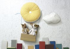 """An alternative to all those pictures of babies inside objects, here is Marek Farkas' """"LIfe is Adventure"""" project with photos of puppies and kitties having """"safe adventures"""" with household items. Puppies And Kitties, Cute Puppies, Doggies, Kitten Photos, Animal Nutrition, Pet Nutrition, Creative Advertising, Print Advertising, Print Ads"""