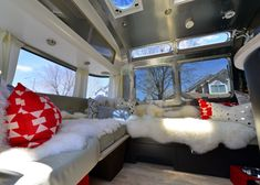 The lounge in a new airstream. Pretty awesome.