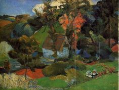 Aven running through Pont-Aven, 1888 by Paul Gauguin, Breton period. Post-Impressionism. landscape. Private Collection