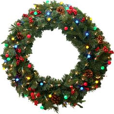 GE 30-in Green Artificial Wreath with Multicolor LED Lights