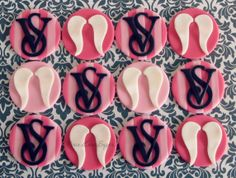 Victoria Secret Logo & Angel Wings Cupcake Toppers! Peace.Love.Sugar https://www.facebook.com/pages/PeaceLoveSugar/107504169339809