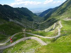 I would love to drive that road. Transfagarasan road cable car Carpathian mountains Romania