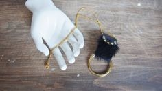 Wildling Necklace - Black leather & Hair on Hide necklace with brass bullring
