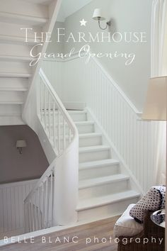 BELLE BLANC: The Farmhouse love the stairway in this house - with its quaint wainscoting and cute landings :)