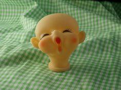 Yawning Big Eared Baby Doll Head Cute Vintage Craft Supply