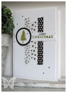 handmade Christmas card from www. black and white with . - handmade Christmas card from www.nl … black and white with a bit of gold … Washi ta - Simple Christmas Cards, Homemade Christmas Cards, Stampin Up Christmas, Xmas Cards, Homemade Cards, Holiday Cards, Black Christmas, Christmas Tag, Christmas Colors